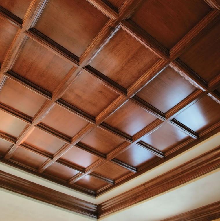 controsoffitto in legno a cassettoni