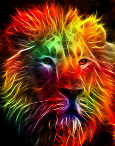 Counted-Cross-Stitch-Pattern-or-Kit-Animal-Fractal-Lion