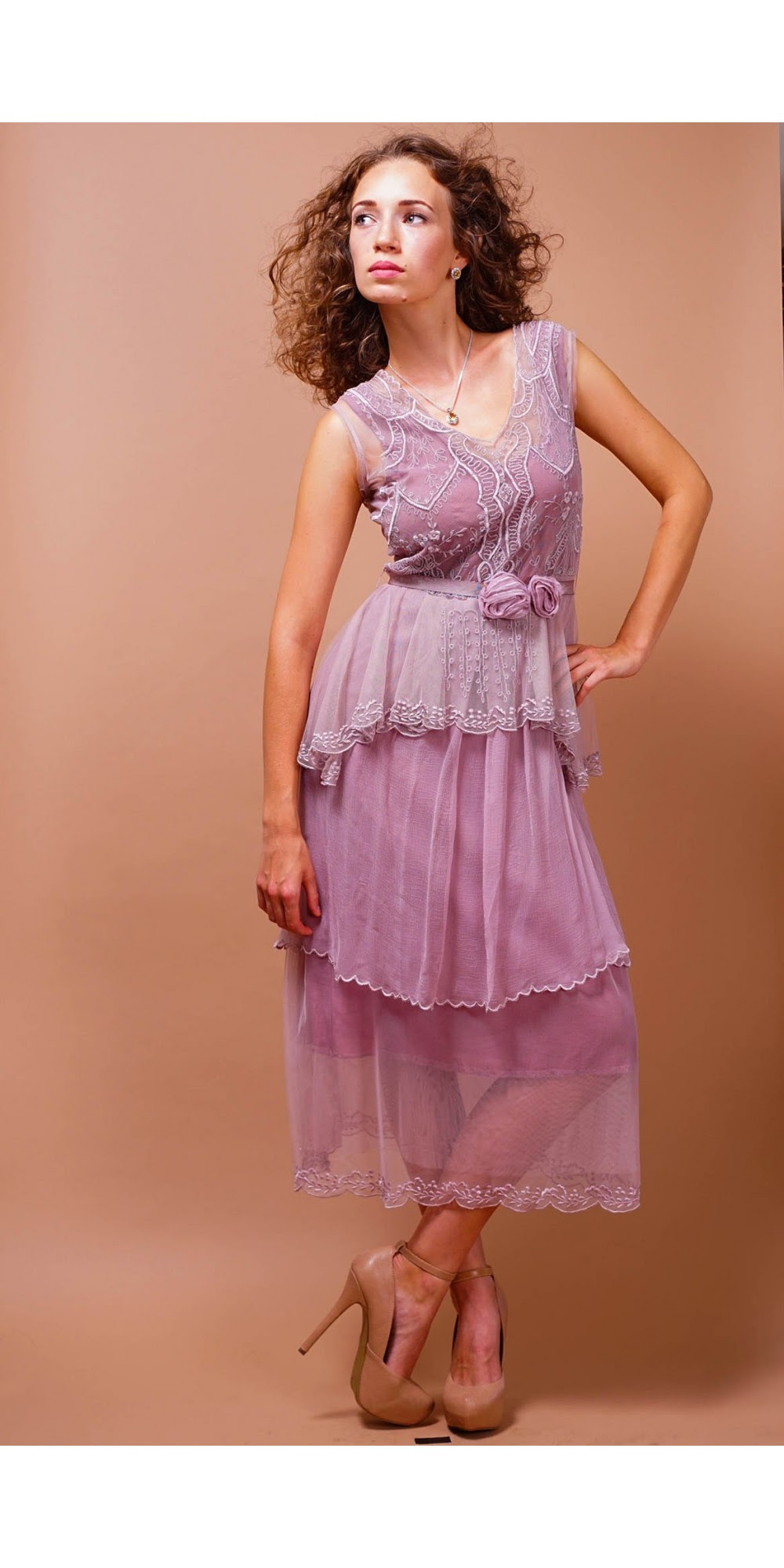 vintage inspired tiered tea party dress in lavenderrose