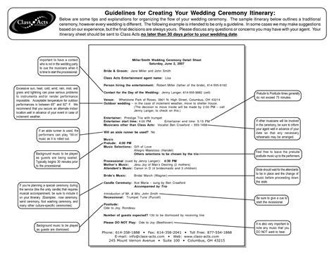 outline for formal wedding itinerary   Guidelines for