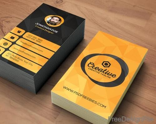 Free Download Template Business Card PSD - Black with Orange Agency