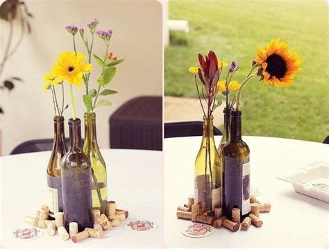 Wine Bottle Vases and corks make a really classy and