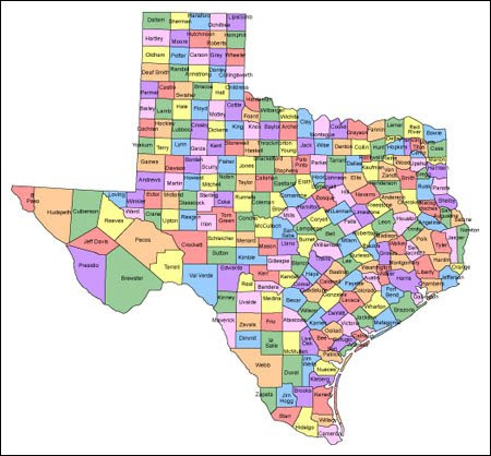 Texas Map With Counties And Names Presentationmall