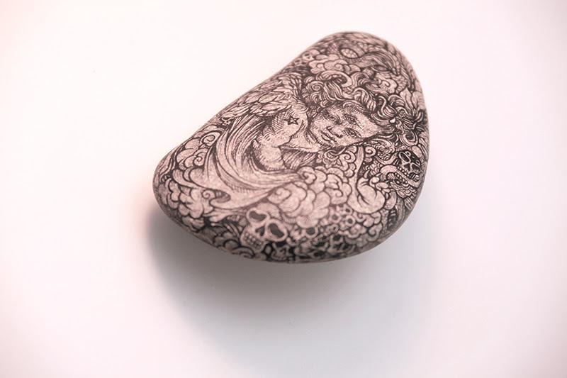 Stones & Bones: Illustrations on Rocks and Skulls by DZO skulls rocks illustration