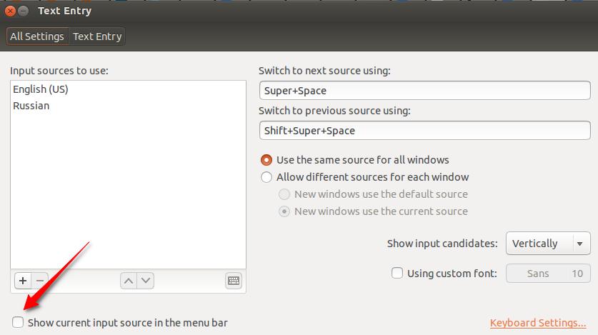 Показать текущий источник ввода в панели меню / Show current input source in the menu bar