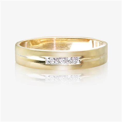 9ct Gold & Diamond Ladies Wedding Ring 4mm