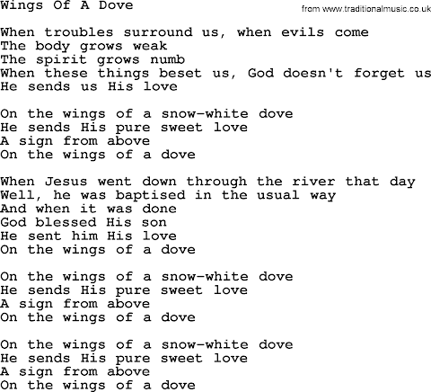 On The Wings Of A Dove Lyrics Dolly Parton
