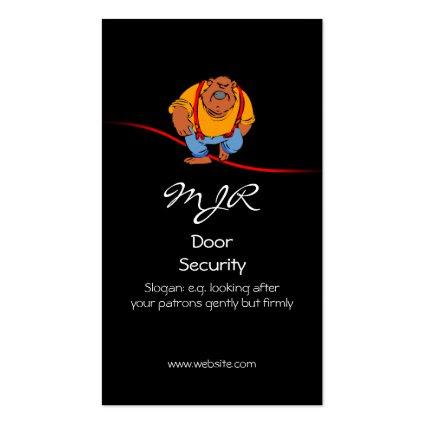 Monogram, Nightclub Door Security, red swoosh Business Cards