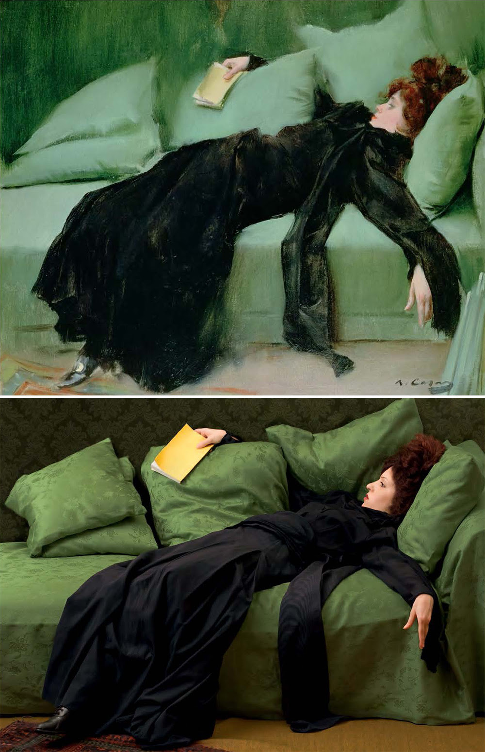 """Ramon Casas i Carbo, """"After the Ball,"""" 1895, oil on canvas, remake by Tania Brassesco and Lazlo Passi Norberto"""