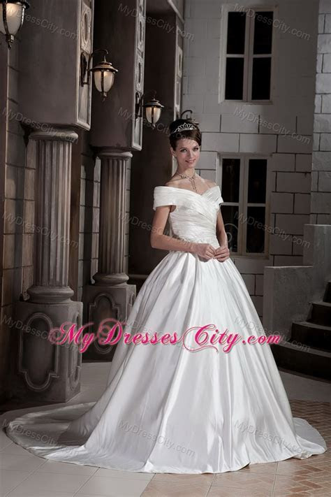 Off The Shoulder Ruching Court Train Wedding Bridal Gowns