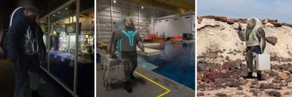 """Three models of NASA's Z-2 suit unveiled to the public in March 2014 for people to vote on their favorite design. From left, """"Biomimicry"""", """"Technology"""" and """"Trends In Society."""" Click for a larger version. Credit: NASA (Photo combination: Elizabeth Howell)"""