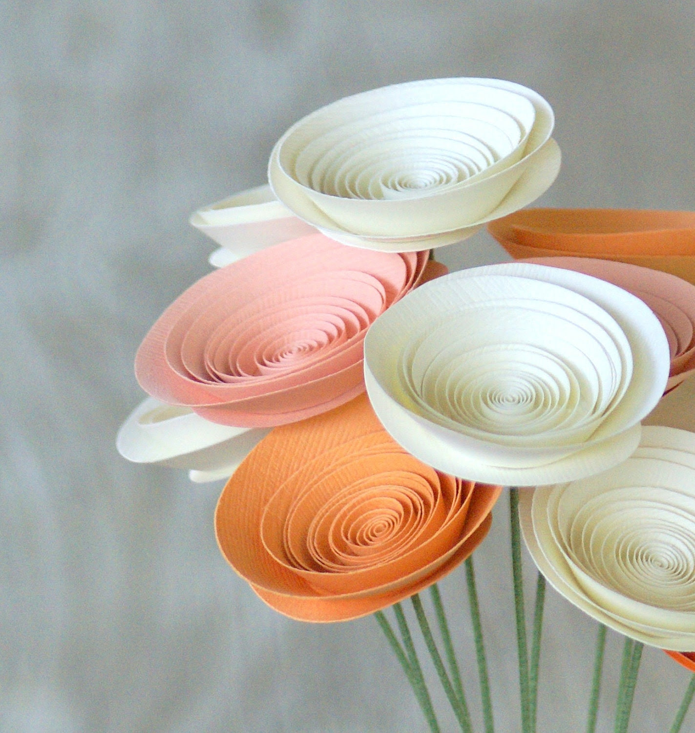 Easter Pastel Paper Flowers in Creamsicle -- Peaches and Cream Spring Centerpiece -- Sherbet Tangerine, Apricot, Peach, and Ivory