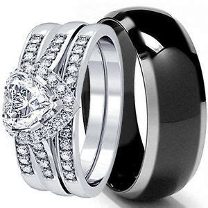 HIS AND HERS 4 PCS MENS WOMENS STERLING SILVER BLACK