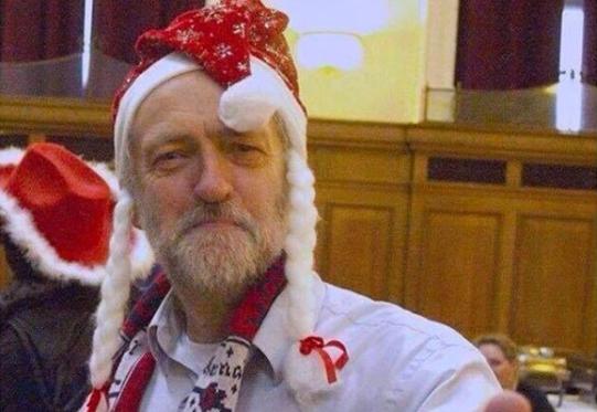 Jeremy Corbyn wears Santa Hat