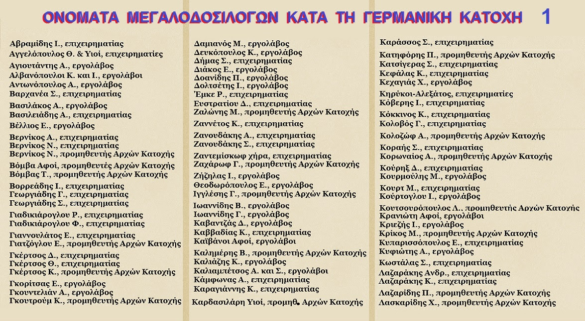 ΔΟΣΙΛΟΓΟΙ ΓΕΡΜΑΝΙΚΗΣ ΚΑΤΟΧΗΣ