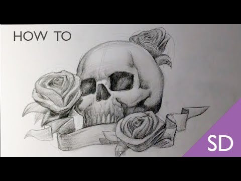 How To Draw A Skull With Roses Tattoo Skull Drawings Playithub