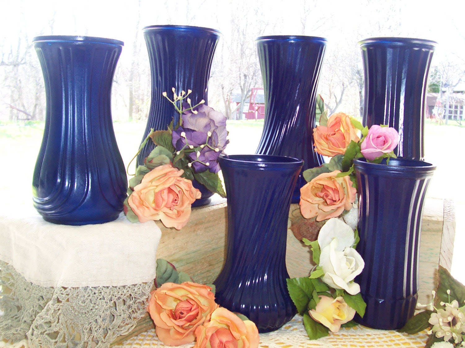 Vases Painted Table Wedding centerpiece flower 6 peacock shabby chic blue reception decorations glass country rustic vases wedding