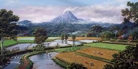 Lukisan Gambar Pemandangan Gunung Dan Sawah