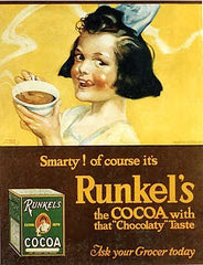 1915 Runkel's Cocoa Original Vintage Hot Chocolate Poster