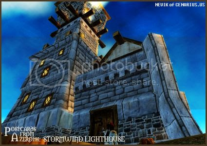 Rioriel and Nevik's daily World of Warcraft screenshot presentation of significant locations, players, memorable characters and events, assembled in the style of a series of collectible postcards. -- Postcards of Azeroth: Stormwind Lighthouse