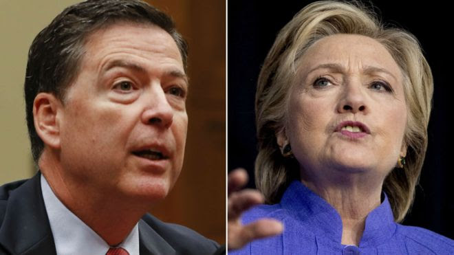 A composite of James Comey and Hillary Clinton