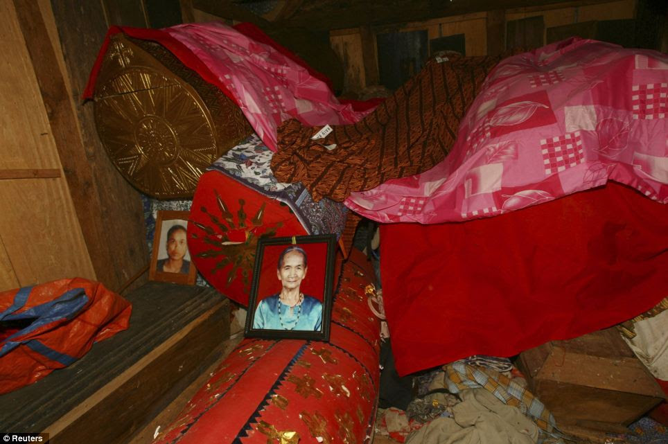 Coffins containing mummies are seen in a grave house called Patane during the ritual