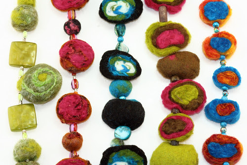 colorful felted beads