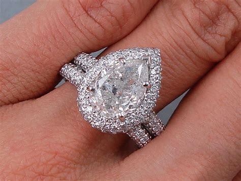 5.02 CTW PEAR SHAPE DIAMOND WEDDING RING SET G SI3 I1