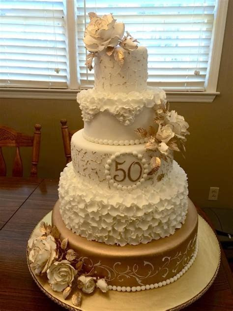 50th Anniversary by Theresa   http://cakesdecor.com/cakes