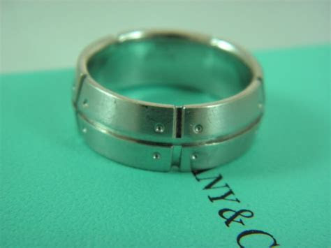 Tiffany & Co. Mens Wedding Band Ring Solid 18K White Gold