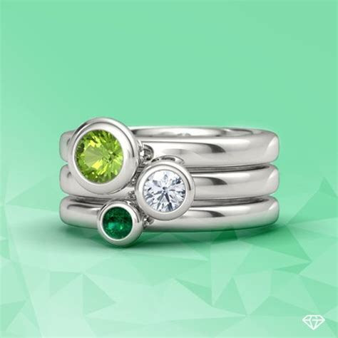 Gemstones By The Yard Stacking Ring Set styled in peridot