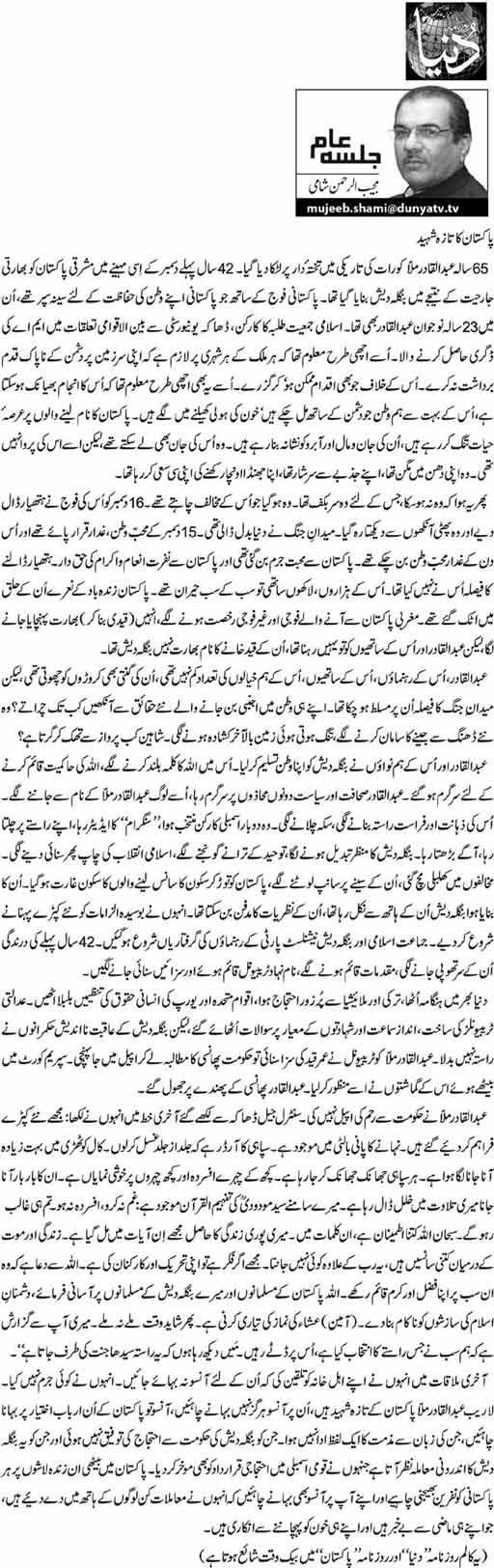 Pakistan Ka Taza Shaheed - Mujeeb ur Rehman Shami - 15th December 2013