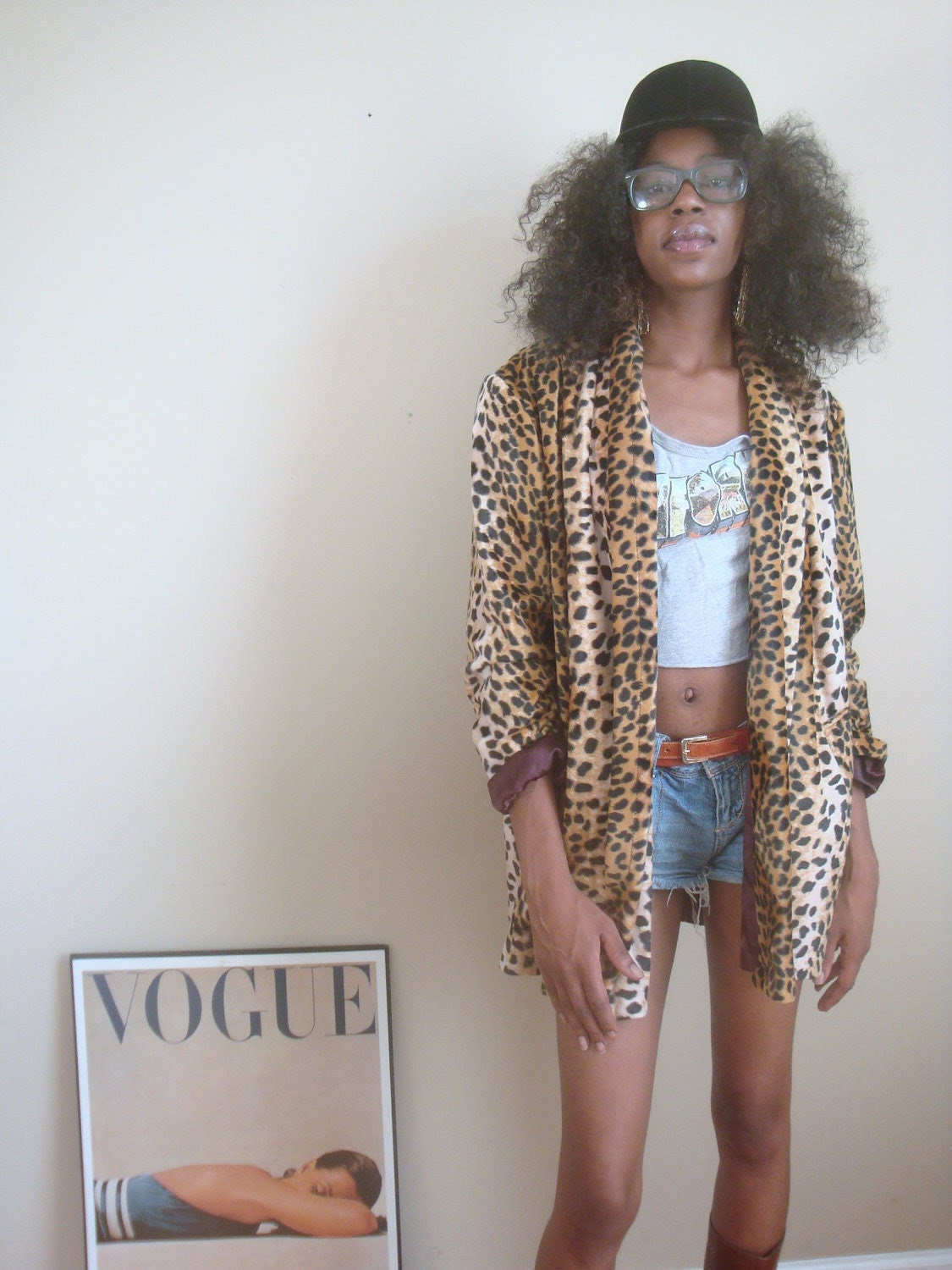 vintage animal print blazer coat winter or fall cheetah print