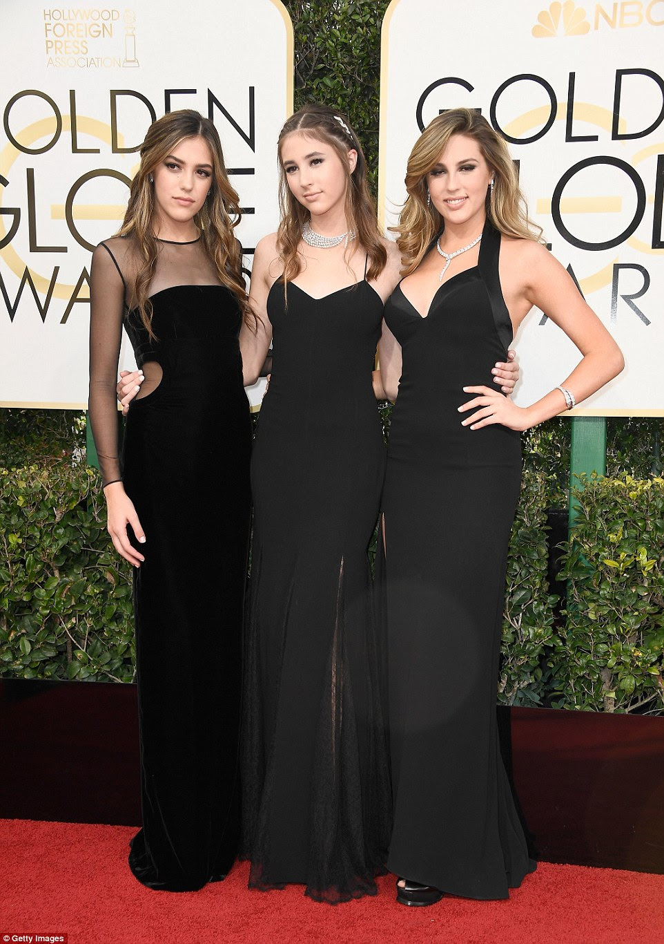 Sly's leading ladies! Miss Golden Globes Sistine, Scarlet and Sophia Stallone keep it classic in black as they lead red carpet arrivals for the Golden Globe Awards