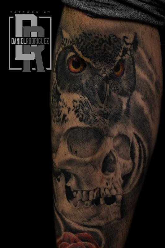 Owl Skull Tattoo By Daniel Rodriguez Tattoonow