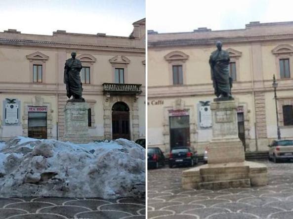 La piazza prima e dopo l'intervento dell'imprenditore di Sulmona