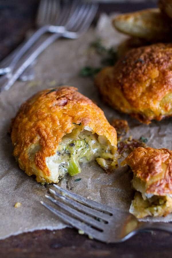 Extra Flakey Broccoli Cheddar Soup Mini Pies | halfbakedharvest.com @hbharvest