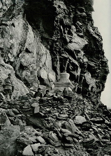 Joseph Rock at stupa shelter, Konkaling, 1928