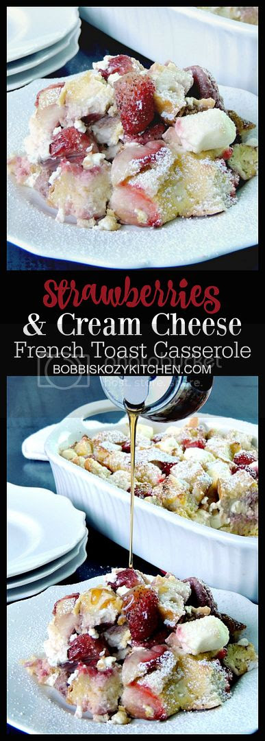 Decadent, and delicious, this Strawberries and Cream French Toast Casserole is the perfect dish for a family breakfast or brunch. From www.bobbiskozykitchen.com