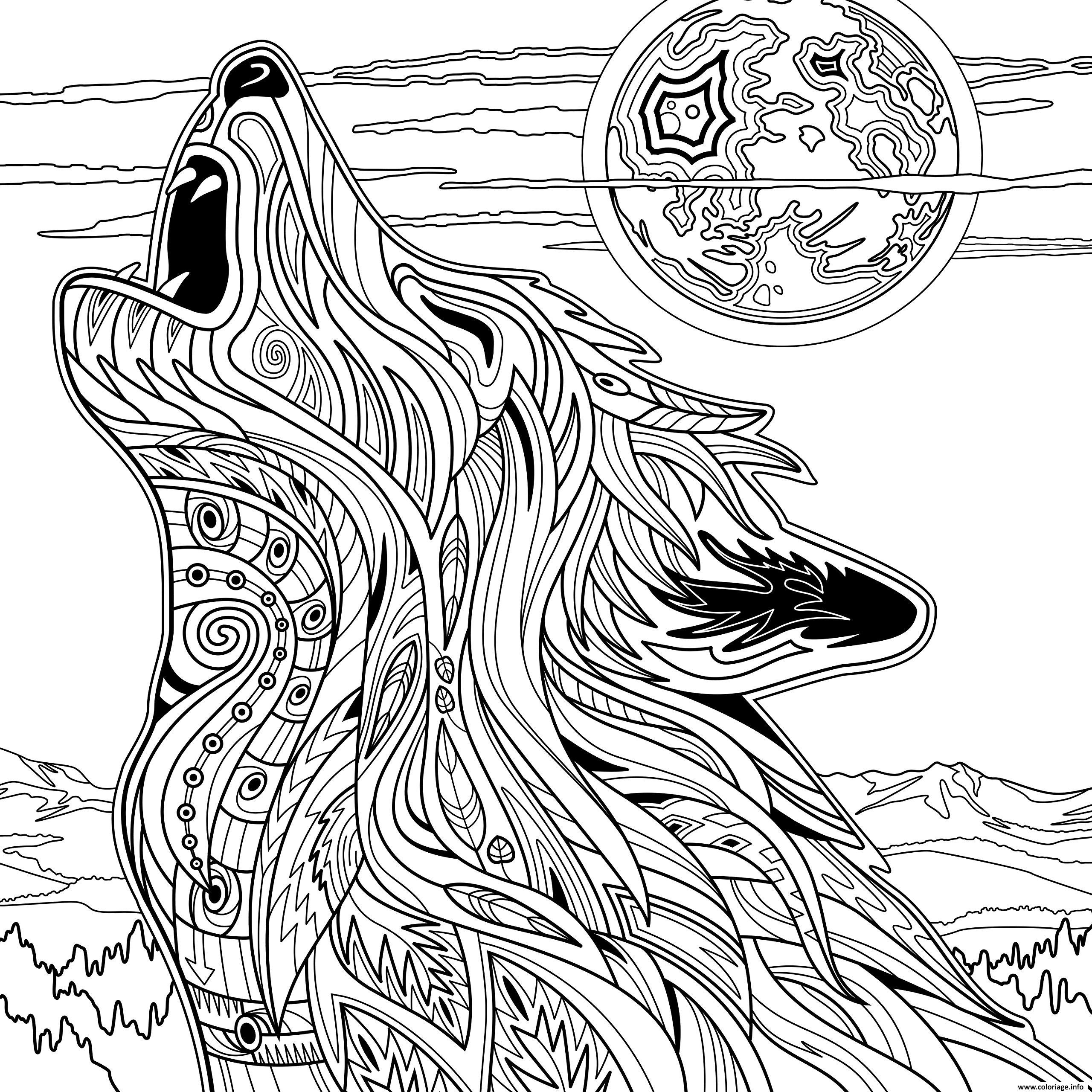 Coloriage Adulte Loup Animaux Yellowstone National Park Jecoloriecom