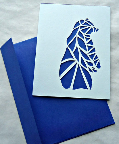 papercut bear card