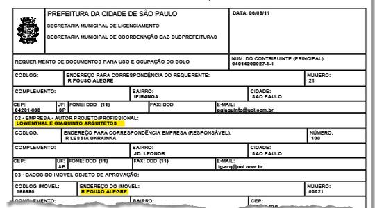 Requerimento na prefeitura em nome do escritório Lowenthal e Giaquinto. O endereço Rua Pouso Alegre, 21 é do Instituto Lula (Foto: reprodução)