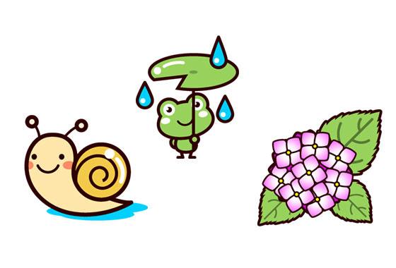 フリー素材 カエルやカタツムリの紫陽花の花などの梅雨のイラストセット