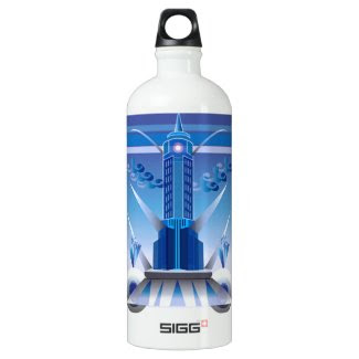Art Deco Building Design on Water Bottle
