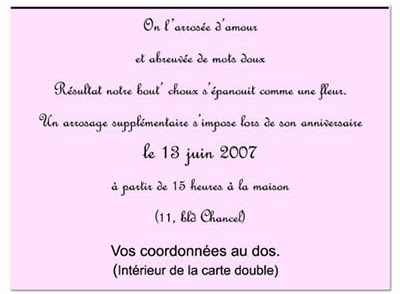 Exemple De Texte Pour Carte D Invitation D Anniversaire