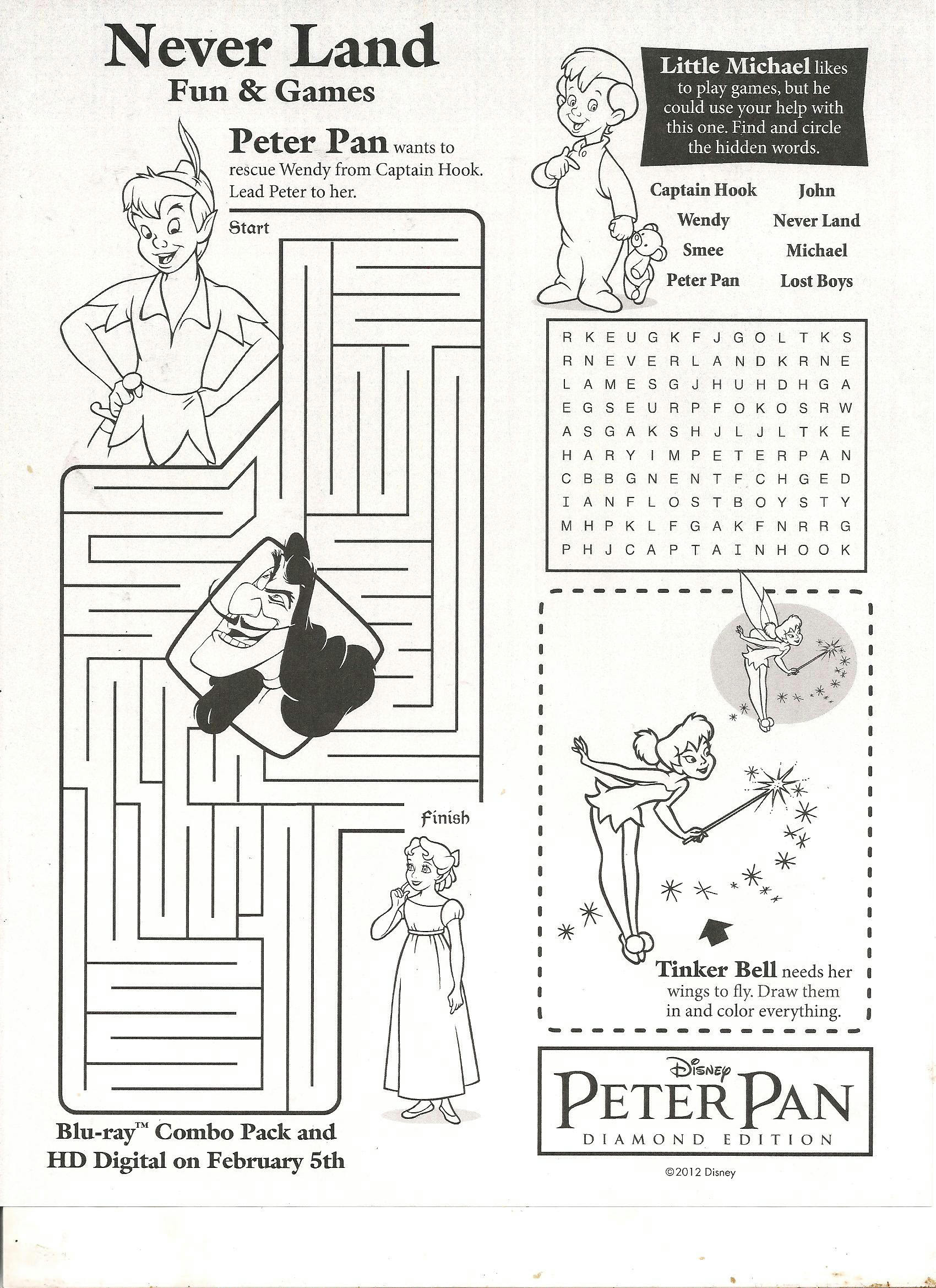 Peter Pan, Tinkerbell, and Captain Hook Coloring Pages for Kids ...