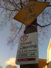 One Block of Street Cleaning Signs on Dunster Road