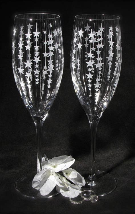 Falling Star Toasting Glasses, Champagne Flutes Gift for