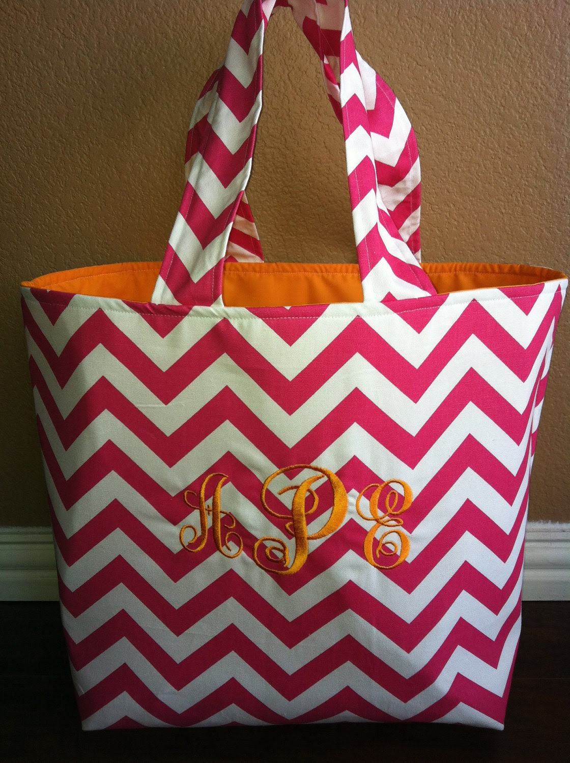 Candy Pink and White Large Monogramed Chevron Tote