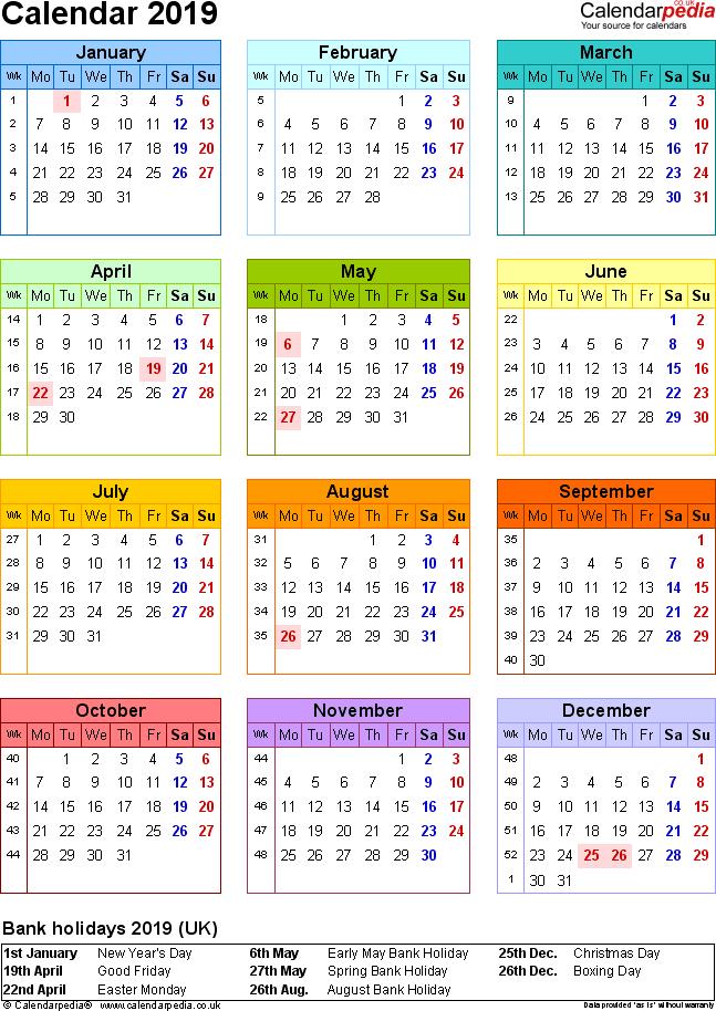 calendar 2019 p uk
